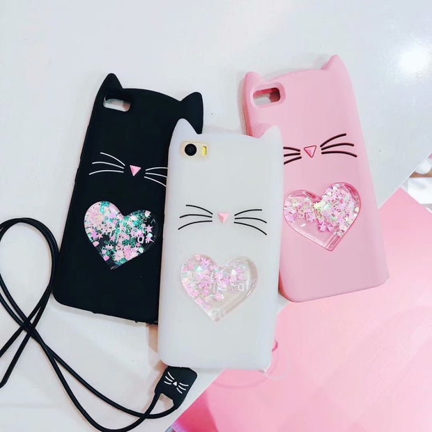 For Xiaomi Redmi 4A 4X Note 3 4 4X 5 Case 3D Cute Beard Cat Liquid Quicksand For Xiaomi 5 5X 6X Silicon Soft TPU Cover
