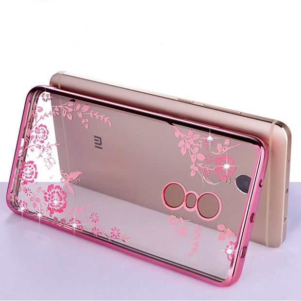 For Xiaomi Redmi 5 Case Plating Frame Gilded Glitter Crystal TPU Silicone Soft Back Cover For Xiaomi Redmi 5 Plus Phone Case