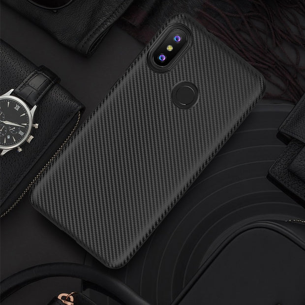 For Xiaomi Redmi 6Pro Case Plain Luxury Shockproof Carbon Fiber Ultra Thin Soft TPU Phone Case For Redmi 6 6A Slicone Back Cover