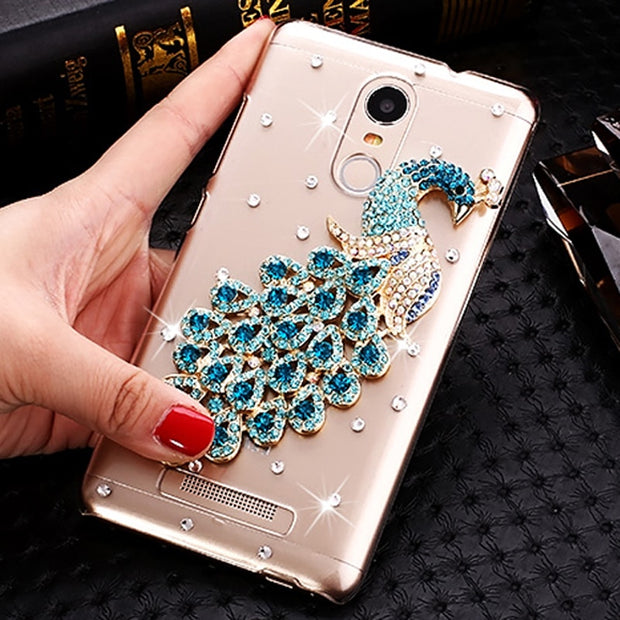 For Xiaomi Redmi Note 3 Case Bling Bling Peacock Rhinestone Phone Case For Xiaomi Redmi Note 3 Pro Prime 5.5 Inch Case 150mm