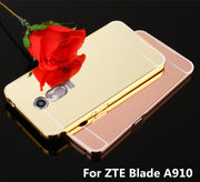 "For ZTE Blade A910 Case 5.5"" Luxury Plating Mirror Aluminum Metal Bumper+Hard PC Phone Back Cover For ZTE A910 BA910t A 910 Case"