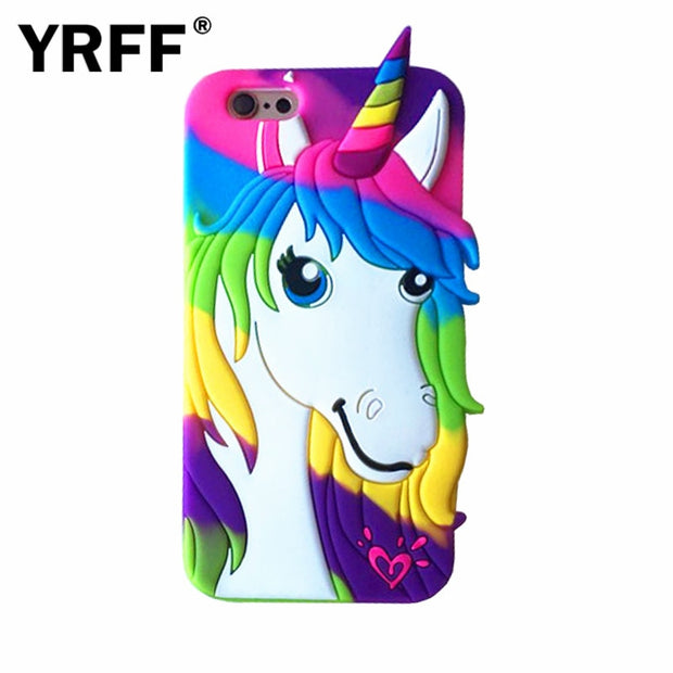 For Apple Iphone 7 8 Plus 5.5 Silicon Soft Phone Cases Cover For Iphone 6S 6 3D Rainbow The Unicorn Littlt Horse Head Phone Case