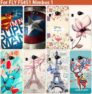 For Fs 451 Cases Fashion Colored Deer Eiffel Towers Superman Design Case For Fly FS451 Nimbus 1 Silicone Cover For Fly Fs451