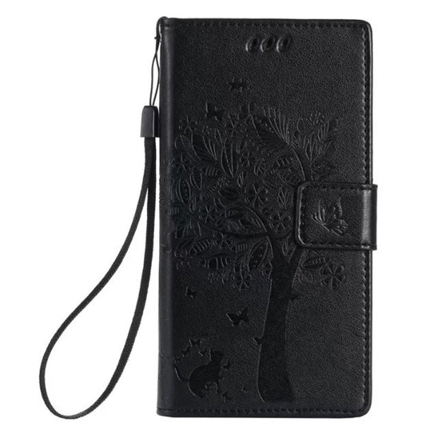 For Huawei P8 Lite P9 Plus P7 Y625 Y6 Mate S MATE 7 4X 5X 5C V8 Y360 GR3 Honor 7i Honor 5a Nexus 6p Leather Case Tree Cat Cover