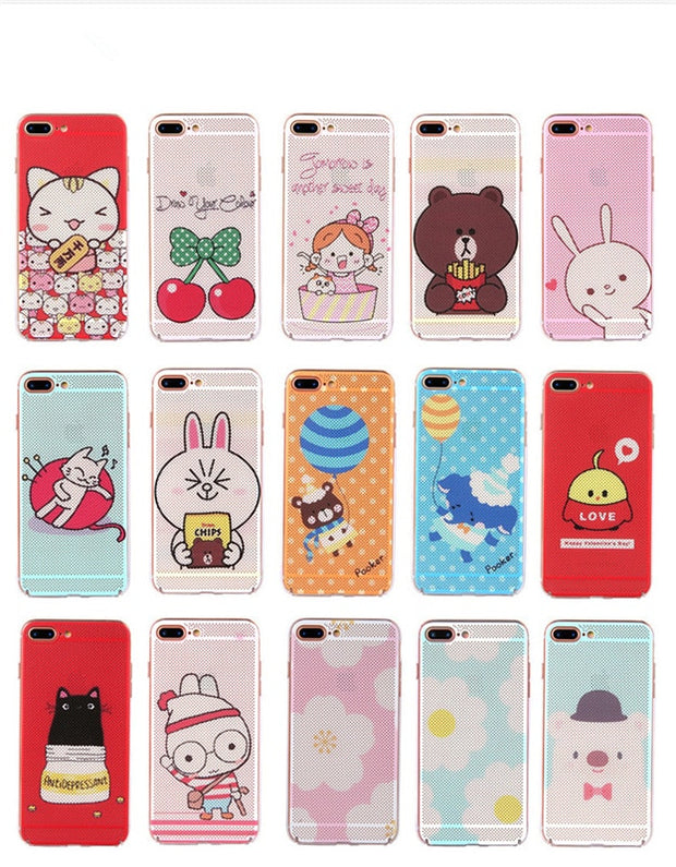 For IPhone 6 Case Art Print Hard PC For IPhone 7 Coque Cartoon Design Flowers Little Bear Back Cover For IPhone 6s Case Fundas