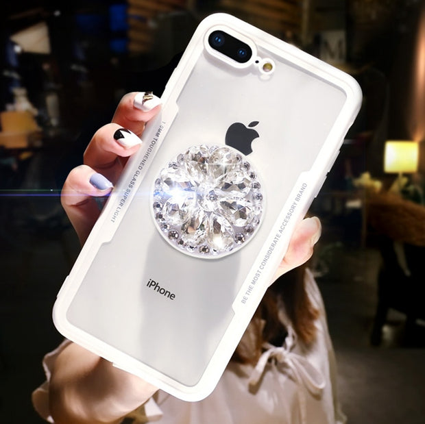 For IPhone 7 8 Case Luxury Glitter Diamond Phone Case For IPhone X XS Max 6S 8 Plus 3D Bling Kickstand Holder Hard Back Cover