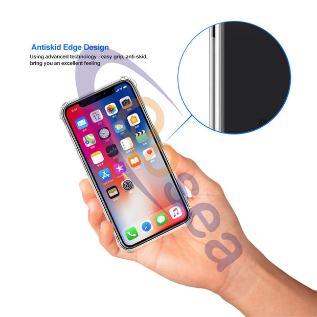 For IPhone X 10 Case Transparent Slim Soft Silicone TPU Skin For IPhoneX 7 8 PLUS Airbag Protective Clear Anti Knock Back Cover