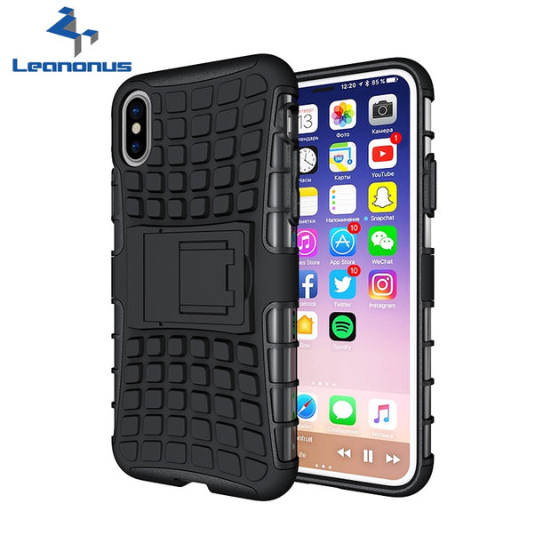 For IPhone X/10 Heavy Duty Phone Case Tire Style Dual Layer Silicone&Hard Plastic Armor Cover For IPhone 6 7 Plus 5 5S SE Case