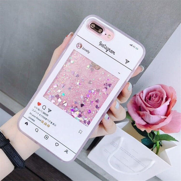 For IPhone X 6 6S 7 8 Plus Case Fashion Girl Chat Page Coffee Cup Liquid Quicksand Silicone Cover For IPhone 8 Plus Phone Bag