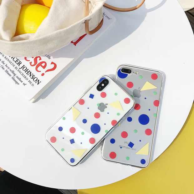 For IPhone X Cute Colorful Geometry Design Cover Phone Case For IPhone 87 Plus 6S Plus Transparent Soft TPU Phone Back Case Capa