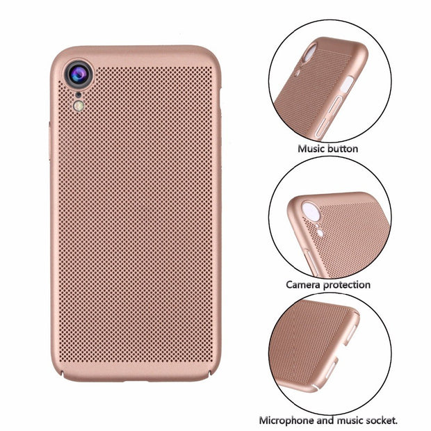 For IPhone XR Case Heat Dissipation Cooling Housing Honeycomb Back Cover For IPhone XS Max X XR 5s 6s 7 8 Plus Accessories Cover
