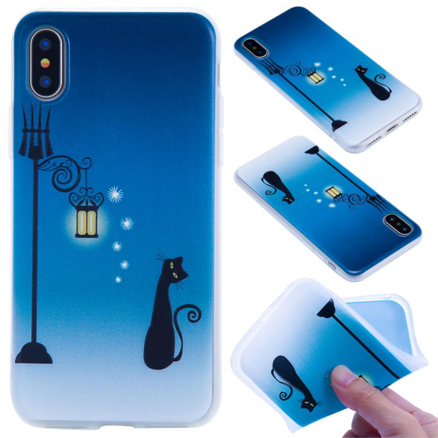 For Iphone 8 6 6S PLus 7plus Silicone Relief Case For Iphone X Case Cute Flowers Owl Cat Wind Chimes Cover TPU Phone Cases