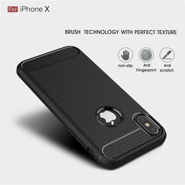 For Iphone X Case Brushed Carbon Fiber Soft TPU Back Cover For Iphone 5 5s SE 6 6s 7 8 Plus Luxury Shockproof Matte Coque Fundas