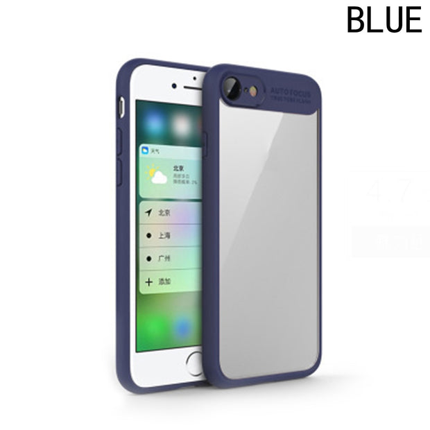For Iphone Original PC + Silicone Capas Case Cover Transparent Back Cover Phone Cases Hard