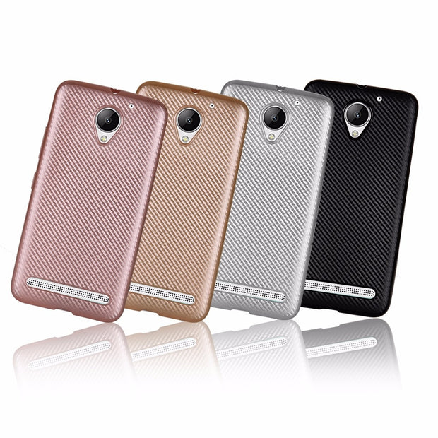 For Lenovo Vibe C2 K5 Plus Case Luxury Carbon Fiber Anti-drop TPU Soft Silcone Cover Case For Lenovo 3 A6020 Protective Case