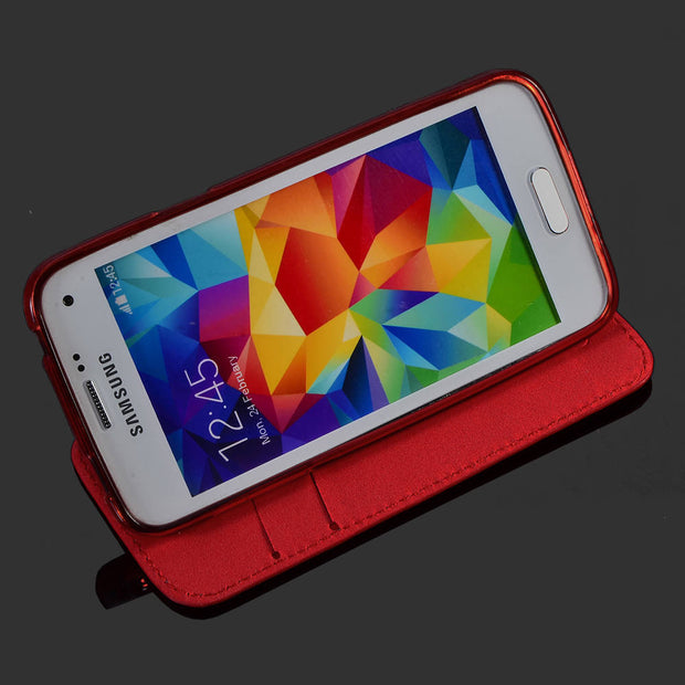Free Shipping For Samsung Galaxy S5 Mini Phone Case TPU Flip Cover Durable Faux Leather With Card Stand Holders Best Sellers