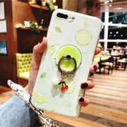 Fruit Phone Cases For IPhone 7 Case Silicone Fitted Case For IPhone 6 6s Plus 8 Plus X Cover Finger Ring Holder Accessories DG73