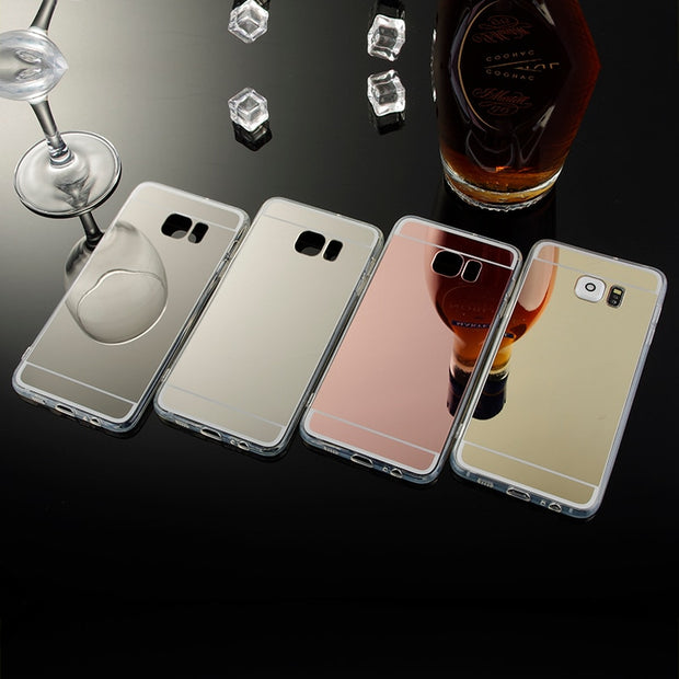 low priced 683eb 1eaf0 Fundas Luxury Clear Mobile Cover For Samsung Galaxy S6 Edge Plus Mirror  Case TPU Phone Cover For Galaxy S6 Edge Plus Accessories