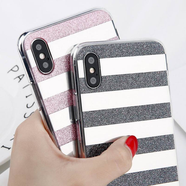Glitter Bling White Stripe Phone Cases For Coque IPhone X 10 8 Plus 7 6 6S Plus 5 5S SE Hard Acrylic Full Cover Protective Capa