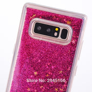 Glitter Liquid Quicksand Phone Case For Samsung Galaxy Note 8 Cartoon Cute Colouful Glitter Liquid Stars Funda Coque Shell Brand