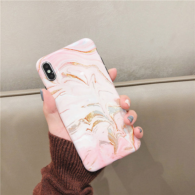 Glitter Marble Phone Case For Iphone XS Max Case For Iphone X XR 8 7 6S 6 Plus Cover Fashion Dream Color Soft Cases Glossy Capa