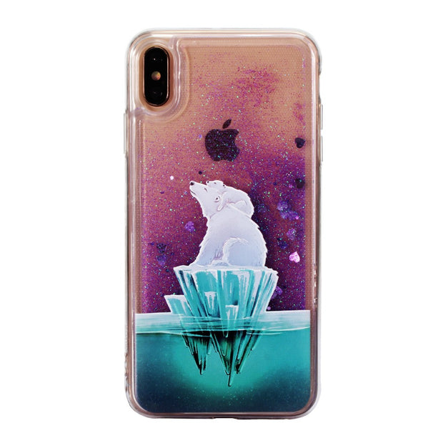 Glittering Transparent Quicksand Soft Case For Iphone XS XR MAX Case Relief Polar Bear For Iphone6 6S 7 8 Plus X Case TPU Cover