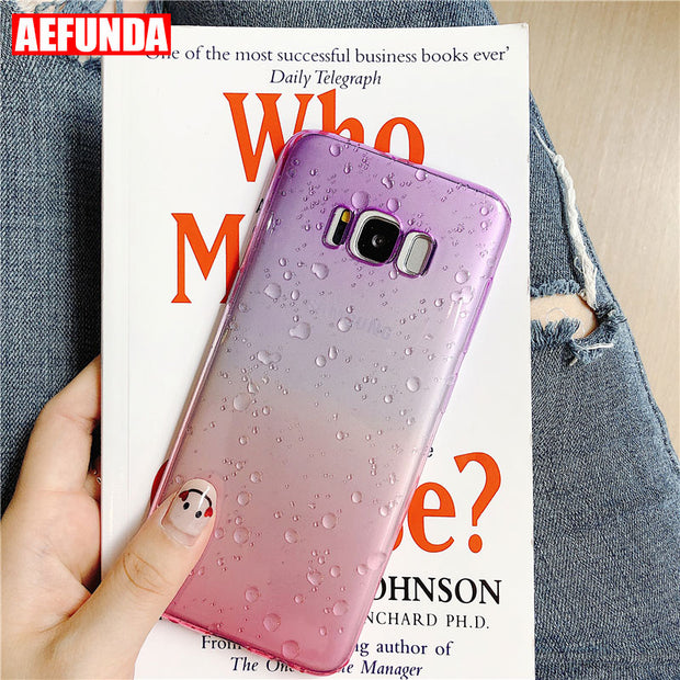Gradient Color Phone Case For Samsung Galaxy S8 S9 Plus J3 J5 J7 2017 NOTE 8 Water Drop Soft TPU Silicone Clear Protective Cover