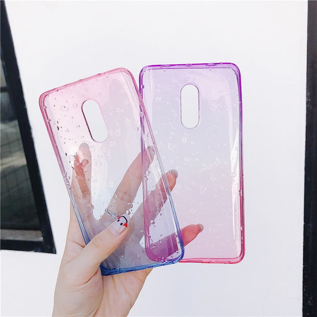 Gradient Rain Drop Phone Case For Xiaomi Redmi 5 Plus 5A S2 Note 5 3 4 4X Pro Prime Global Version A1 6X A2 Colorful Clear Cover