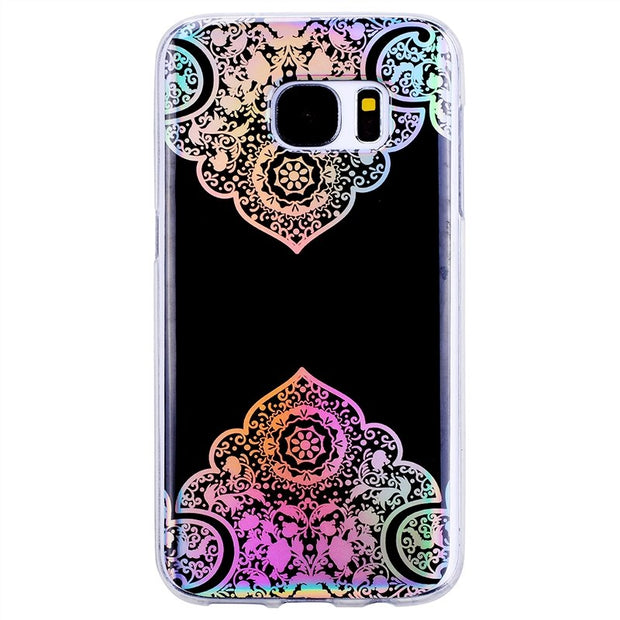 GrandEver Flower Soft Case For Samsung Galaxy S7 S7 Edge Case Black Silicone Protective Slim Coque For Samsung S7 Edge Cover