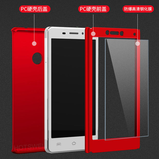 HOTSWEI Case For Huawei Honor 8 LITE Cases P8 P9 LITE 2017 Cases NEW 3 In 1 Full Protective Front + Back Cover + Tempered Glass