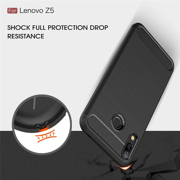 "HOTSWEI For Lenovo Z5 Case 6.2"" Luxury Brushed Carbon Fiber Rubber Armor Protective Phone Case For Lenovo Z5 Z 5 Cover Fundas"