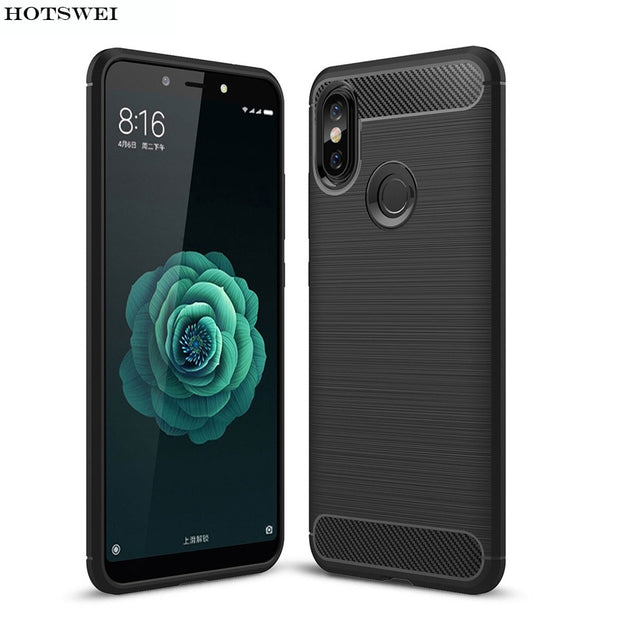 HOTSWEI For Xiaomi Mi A2 Lite Case Luxury Brushed Carbon Fiber Soft Rubber Protective Back Case For Xiaomi Mi A2 MiA2 Lite Cover