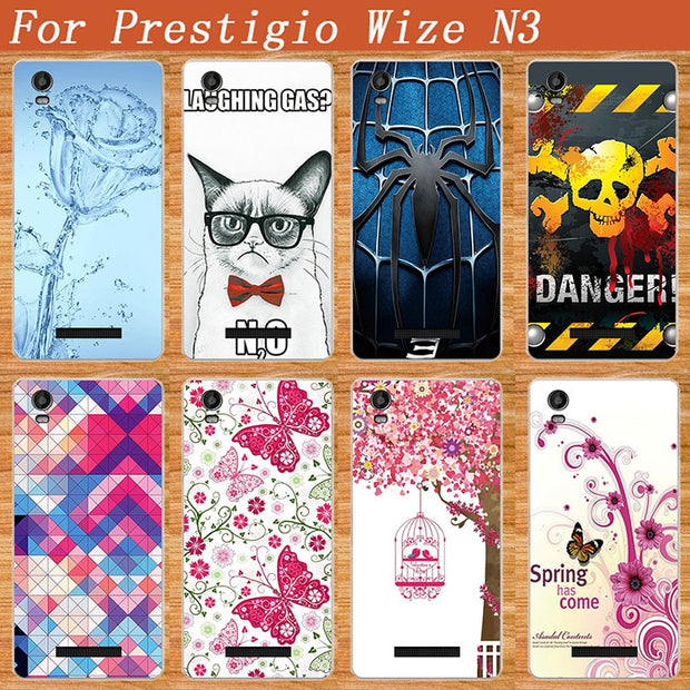 High Quality Diy UV Painting Colored Flowers Spider Glass Rabit Case Cover For Prestigio Wize N3 NX3 NK3 3507 DUO Cases Sheer