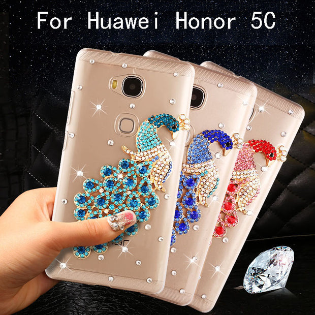 Honor 5C (NEM-L51) Case Bling Bling Diamond Peacock Transparent Hard Case For Huawei Honor 5C/Huawei GT3/(Honor 7 Lite) 5.2""