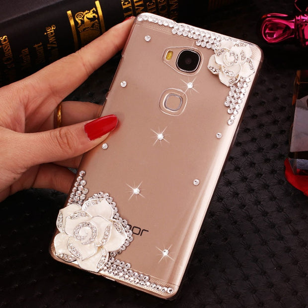 Honor 5C (NEM-L51) CaseDIY Fashion Diamond Camellia Transparent Hard Case For Huawei Honor 5C /Huawei GT3/(Honor 7 Lite)5.2""