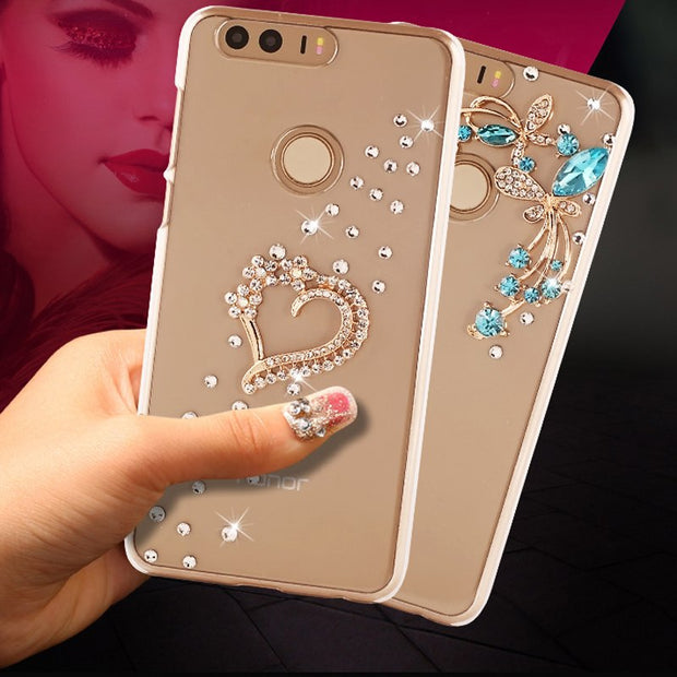 Honor8 For Huawei Honor 8 Case 18 Style Handmade With Rhinestone PU Hard Transparent Shell Phone For Huawei Honor 8 Case 5.2""