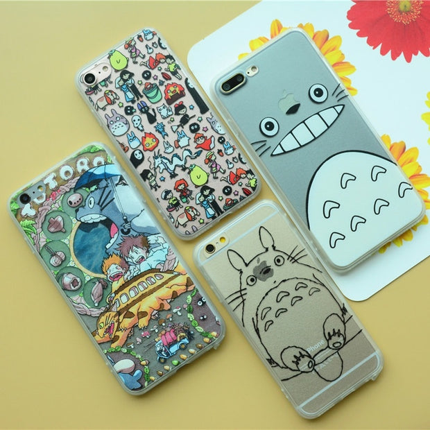Hot Fundas Coque Phone Case For Iphone X 7 6 6s 8 Plus Case Cute Totoro No Face Man Hard Back Soft Frame Cases Cover