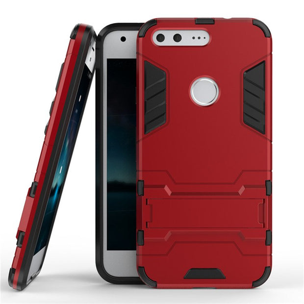 Hot Sale Hybrid Dual Heavy Duty Hard Silicone Iron Man Shield 3D Armor Cases For Google Pixel/Pixel XL Cover Capa Fundas