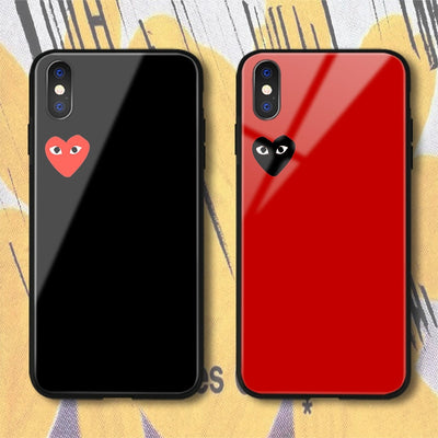 Japan Popular CDG PLAY Comme Des Garcons Case For IPhone X XS Max XR 8 7 6 6s Plus Fashion Design Love Heart Glass Phone Cover