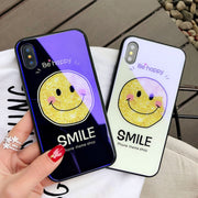 JiBan New Cute Cartoon Pattern Tempered Glass Shell Mobile Phone Case For IPhone 6 6S Plus 7 8 Plus X Hard Shell Cases