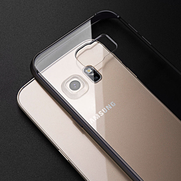 KISSCASE Transparent Back Phone Case For Samsung S6 Edge Cases Soft TPU Edge + Hard PC Back Cover Phone Case For Galaxy S6 Edge