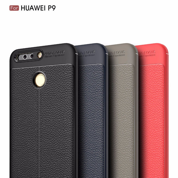 Kcatoon Luxury Carbon Fiber Litchi Pattern Rubber Case For Huawei Ascend P9 Protective Back Cover For Huawei P9 P 9 Cover Capa