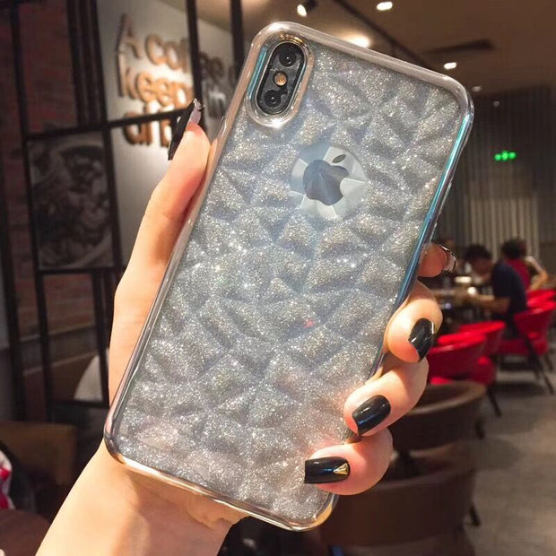 Kerzzil Luxury Jelly Plating Phone Cases For IPhone X 10 Soft TPU Bling Glitter Card Case Back Cover For IPhone 7 8 6 6s Plus