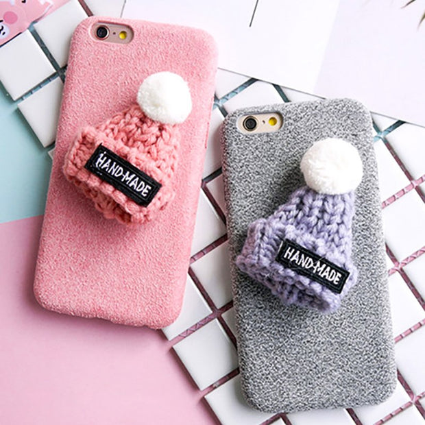 LACK Lovely DIY Hat Warm Fuzzy Phone Case For Iphone X Case For Iphone 7 8 6 6S Plus Cover Fashion Love Heart Cactus Cases Capa