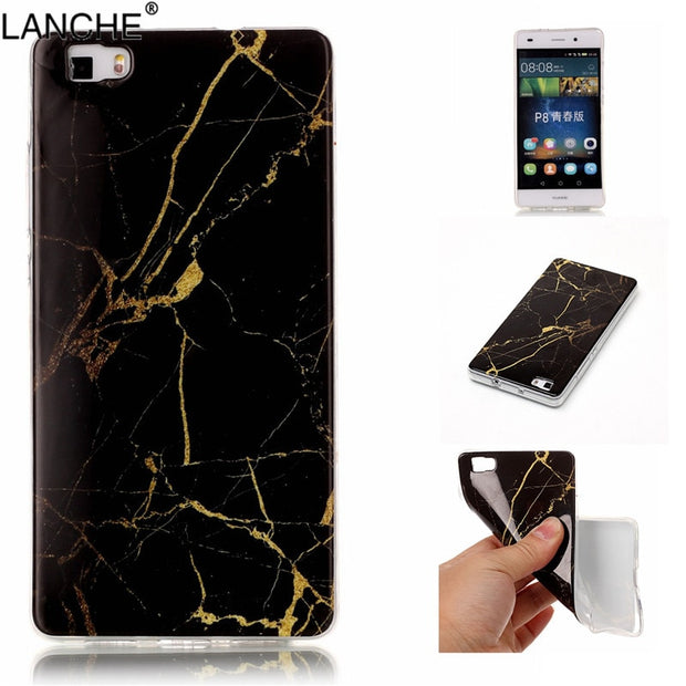 LANCHE Colorful Marble Soft TPU Cover For Huawei P8 Lite/p8 Lite 2017 Case Transparent TPU Frame Protect Mobile Phone Case Shell