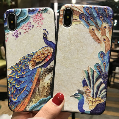 LUOYY FENJJ Cartoon Peacock 3D Relief Cases For Iphone 7 7plus Flamingo Hard Case For Iphone X 6 6s 6splus 6plus 8 8plus Cover