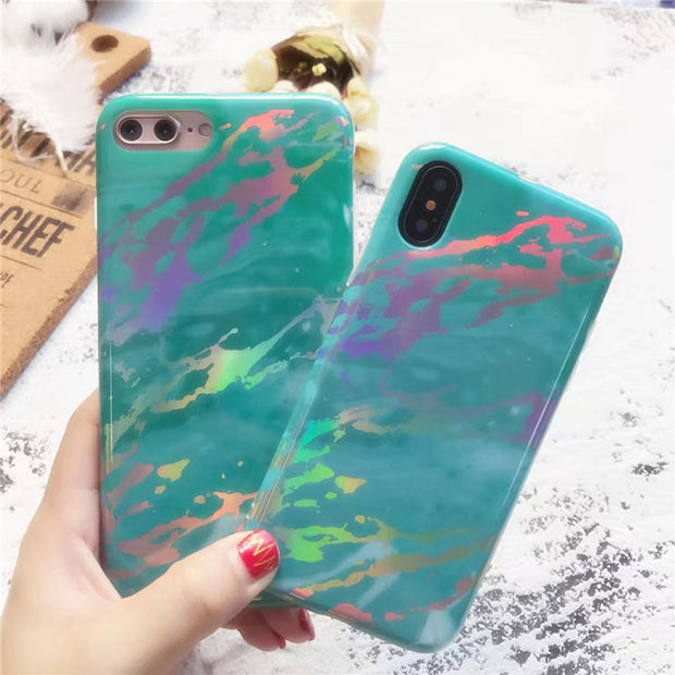 Laser Marble Stone Painted Case For IPhone X Soft Phone Case Luxury Back Cover For IPhone 8 7 7 Plus 6 6S Plus Case Capa New