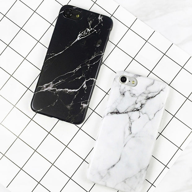 Leanonus Black And White Granite Marble Grain Case For Iphone 6 6 S 7 7 Plus Soft Silicone Phone Cases Cover For Iphone 7 Plus