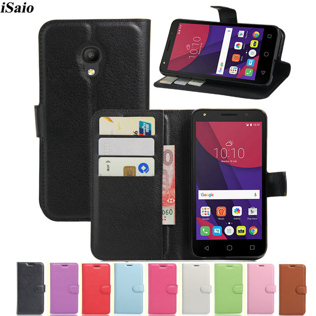 reputable site 46b67 d48bb Leather Cover For Alcatel One Touch Pixi 4 5045D 5045X Flip Wallet Case For  Alcatel Pixi 4 5045 D 5.0