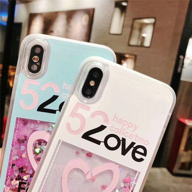 Love Heart Pattern Case Coque For IPhone 7 Liquid Quicksand Case Fundas IPhone X Xs Max Xr 6 6s 8 Plus Phone Cases Luxury Cover